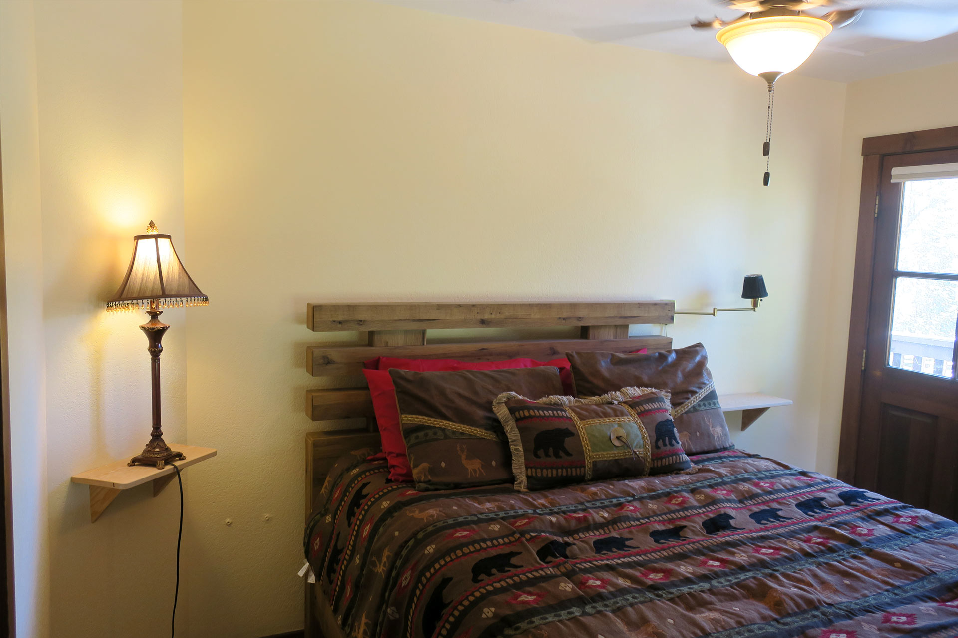 comfy queen-sized bed at the Carriage house