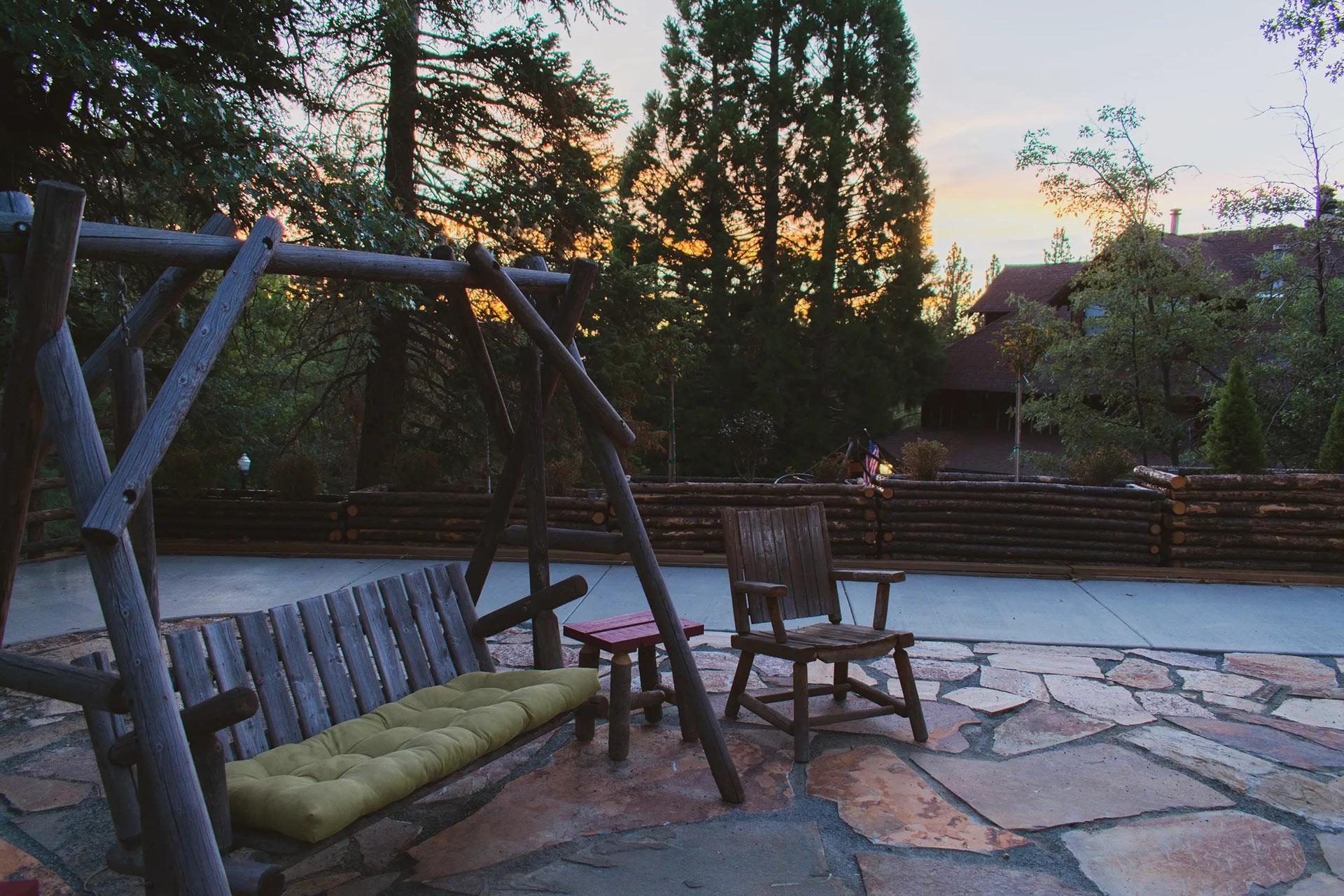View of sun setting in Big Bear Lake from the Knickerbocker courtyard