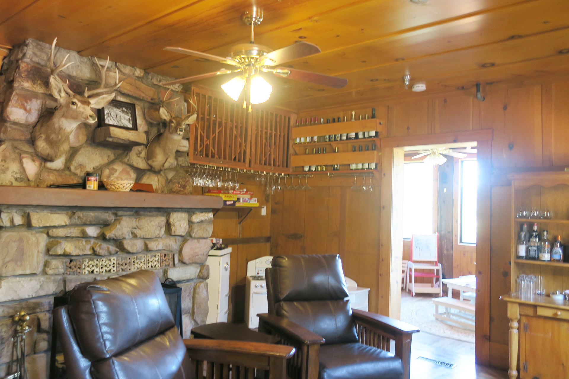 Knickerbocker Mansion man cave with leather chairs