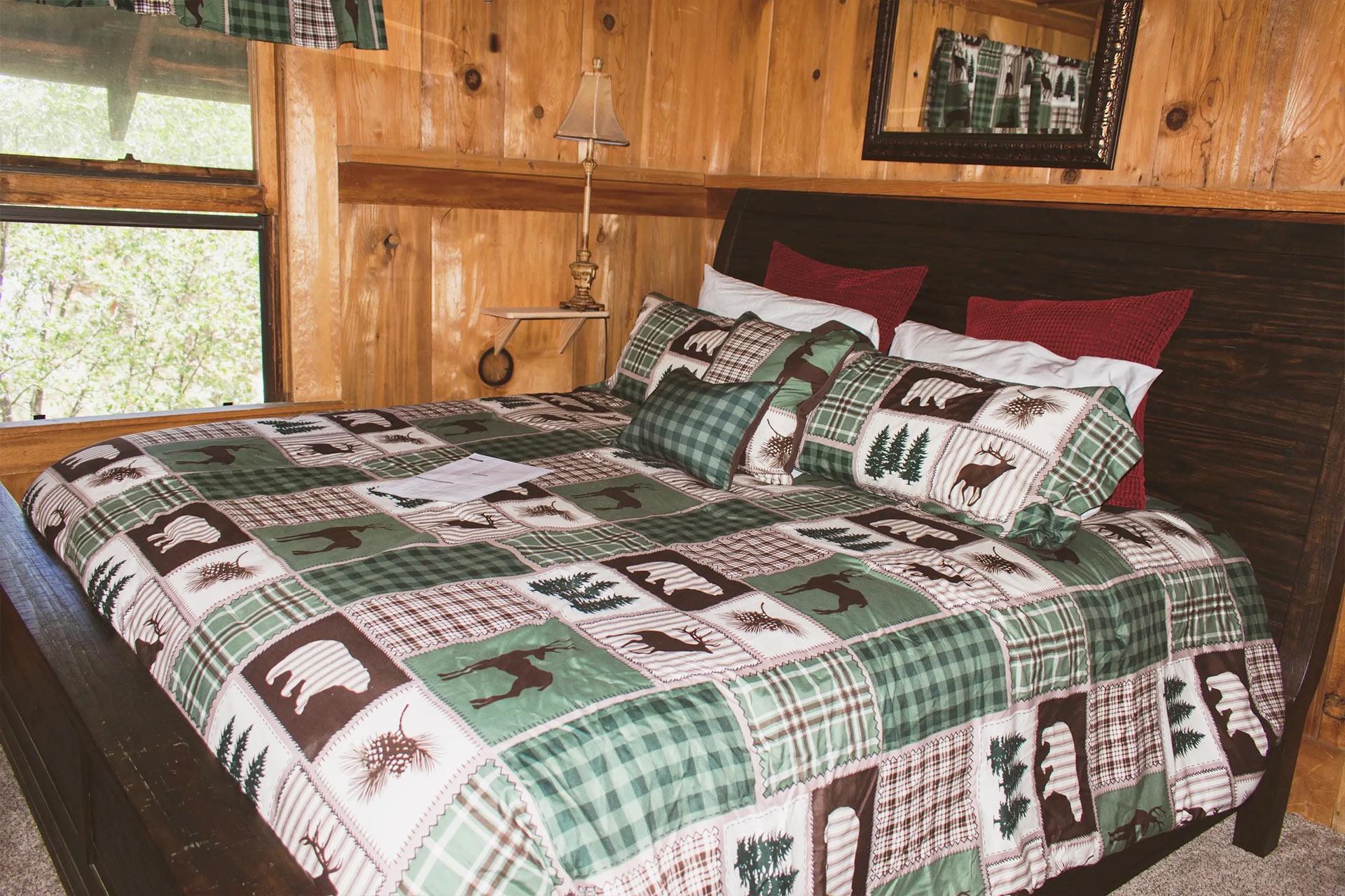 Master bedroom bed in the knickerbocker mansion