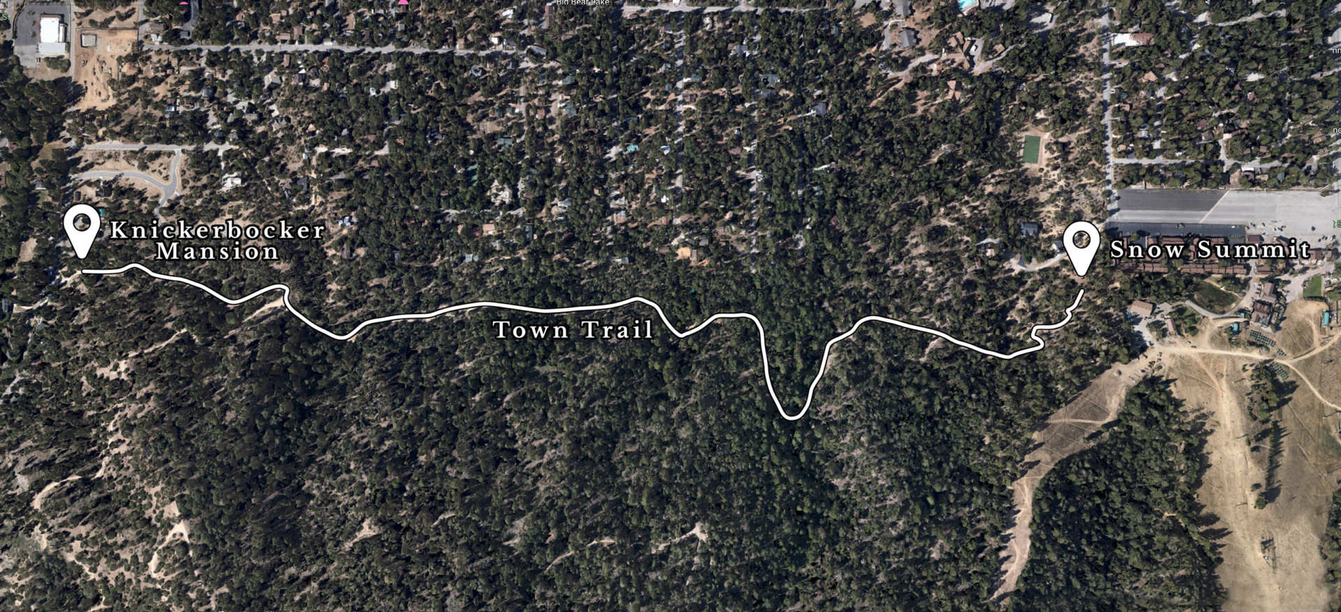 Trail map of the town trail in big bear lake